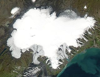 Ice cap ice mass that covers less than 50,000 km² of land area