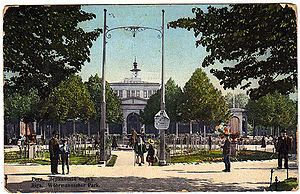 Vērmanes Garden - Picture postcard dated 1913 depicting the entrance to the rose garden