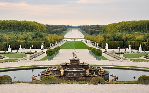 "Versailles gardens view from ""Place d'Armes"", in Paris, France."