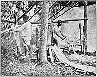 Vicols (Bikolanos) preparing Hemp -Drawing out the fibre (c. 1900, Philippines).jpg