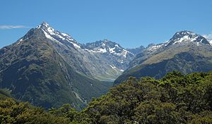 Fiordland - Mountains reach over 2500m in the northern parts of Fiordland