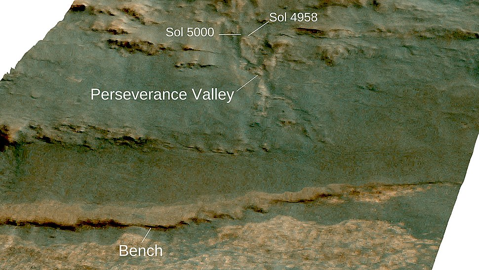 View looking west on to Perseverance Valley on the western rim of Endeavour crater laid over 3-D topographic map of the terrain with 5-fold vertical exaggeration