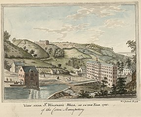 View near St Winifreds Well and cotton manufactory, 1785