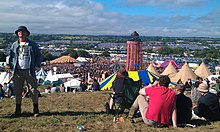 View of Glastonbury Festival from the Park Stage as crowd arrives for Pulp, 2011.jpg