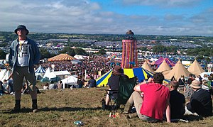 Glastonbury Festival 2011 - A view over the Glastonbury festival from the Park Stage, Saturday 25 June 2011