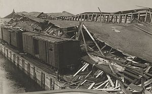 Black Tom explosion - View of the Lehigh Valley pier after explosion