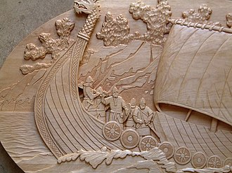 Relief carving -  A low relief carving of a Viking ship