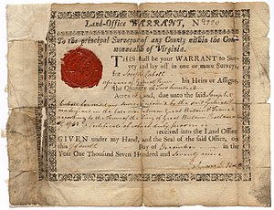 Land grant - Virginia Land Office warrant issued in 1779 to Joseph Cabell, assignee of Sgt. Gabriel Penn, to receive 200 acres of land in return for Penn's service in the French and Indian War