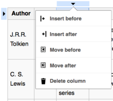 Screenshot showing a pop-up menu for column operations in a table