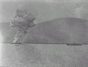 Spanish cruiser Vizcaya - Vizcaya explodes during the Battle of Santiago de Cuba.
