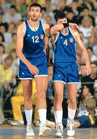 Yugoslavia national basketball team - Vlade Divac and Dražen Petrović in the 1990 FIBA World Championship held in Argentina.