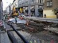 Vodičkova, rekonstrukce tramvajové trati, u ulice V jámě (01).jpg