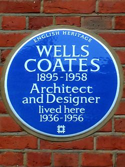 Wells coates 1895 1958 architect and designer lived here 1936 1956