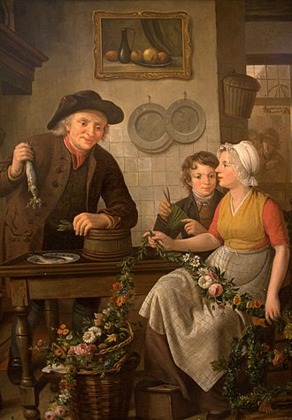 Adriaan de Lelie - Image: WLANL Quistnix! Visserijmuseum Voorbereidingen voor de verkoop van de nieuwe haring, Adriaan de Lelie en Willem van Leen, 1815