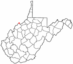 Location of Williamstown, West Virginia
