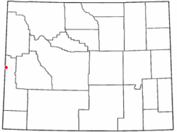 Location of Thayne, Wyoming.