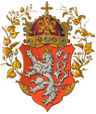 The coat of arms of the Kingdom of Bohemia Wappen Konigreich Bohmen.png