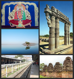 Warangal District Montage. Clockwise from Top Left: Painting of Goddess Bhadrakali in Warangal, Warangal Fort Gateway, Kotagullu in Ghanpur (Mulug), Dornakal Railway Station, Pakhal Lake.