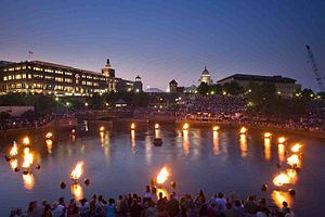 WaterFire - The view of the City of Providence during WaterFire from Waterplace Park