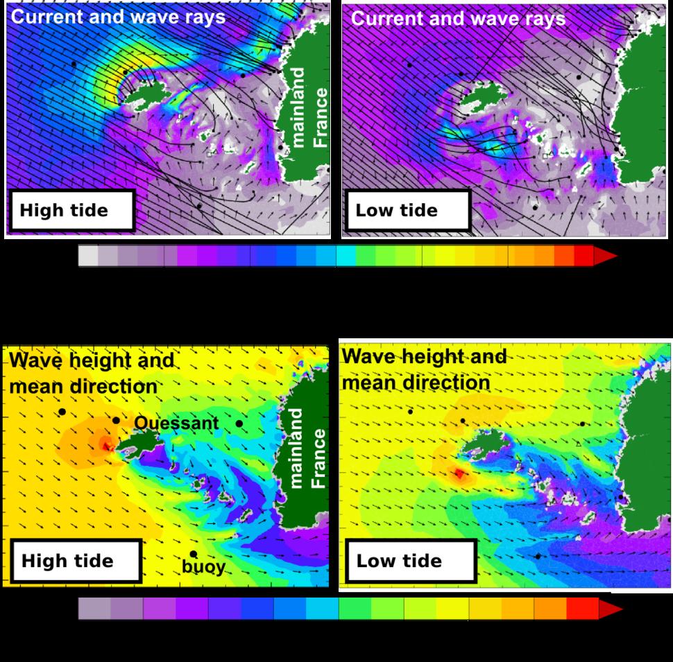 Wave model current induced refraction