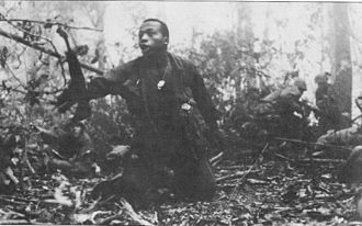 Battle of Dak To - A U.S. soldier calls for a medic as the 1st Battalion, 503rd Infantry battles for Hill 882, southwest of Dak To, November, 1967
