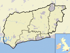 West Sussex outline map with UK