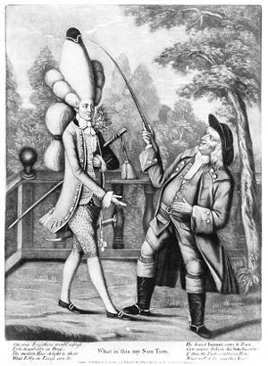 "Macaroni (fashion) - ""What is this my Son Tom?"", 1774"