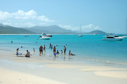 Whitehaven Beach in Queensland in October Whitehaven Beach, Whitsunday Island, Queensland.jpg