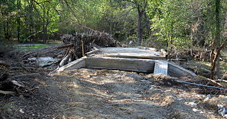 Whitewater State Park - A damaged bridge in 2007