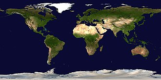 Earth observation satellite - A composite satellite image of the earth, showing its entire surface in Plate carrée projection.