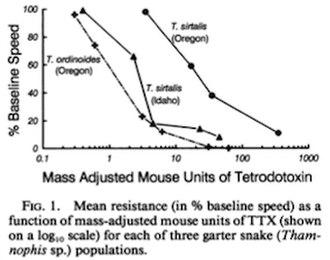Common garter snake - Tetrodotoxin effects in garter snakes