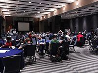 Wikimania 2015-Wednesday-Hackathon overnight.jpg