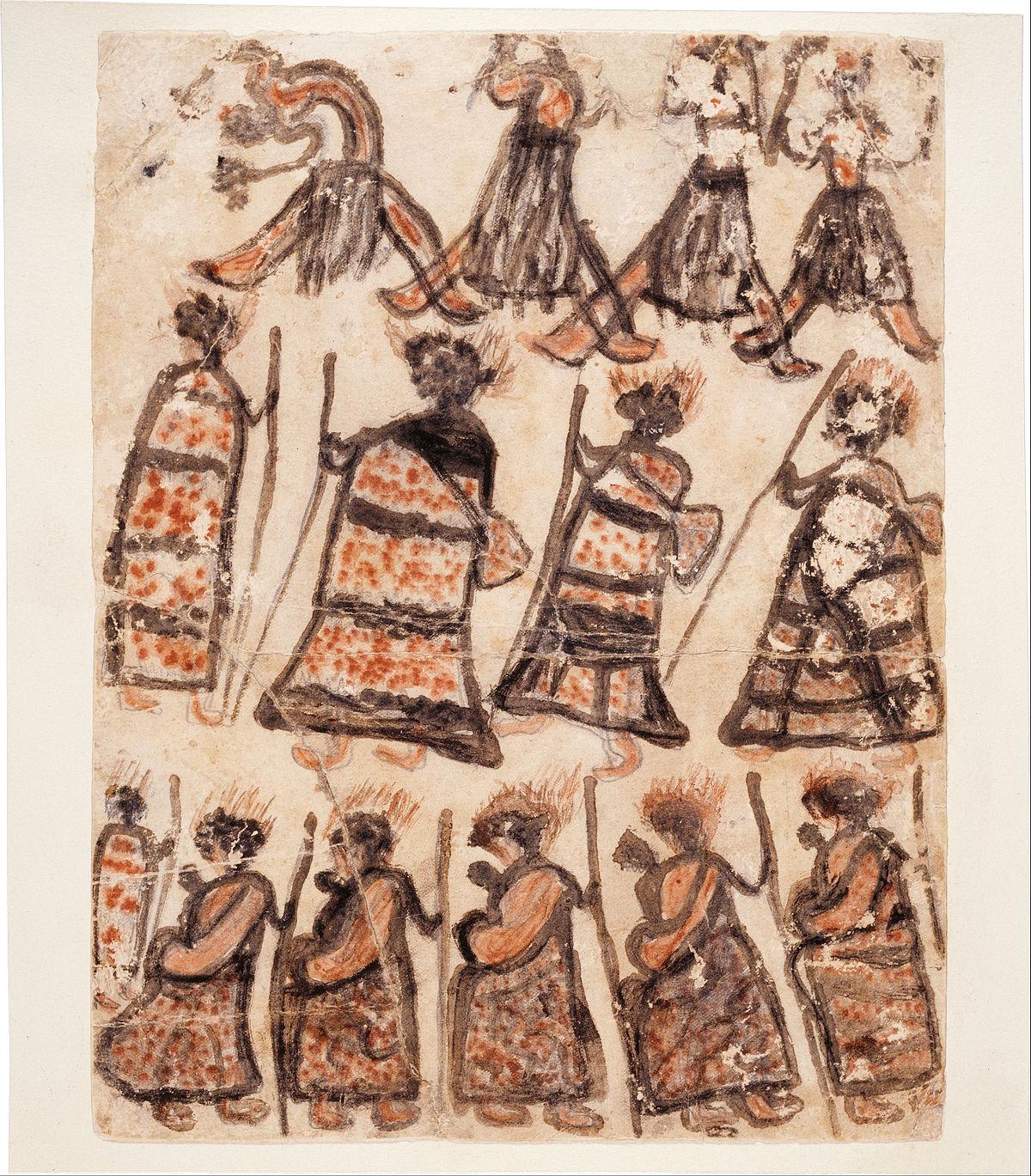 William BARAK - Wurundjeri people - Dancers and women in possum skin cloaks - Google Art Project.jpg