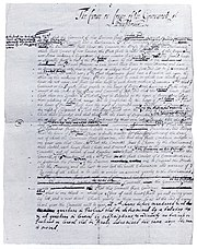 First Draft of the Frame of Government, Pennsylvania's first constitution written by Penn (c. 1681)