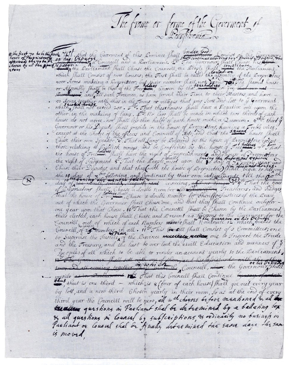 William Penn - The First Draft of the Frame of Government - c1681