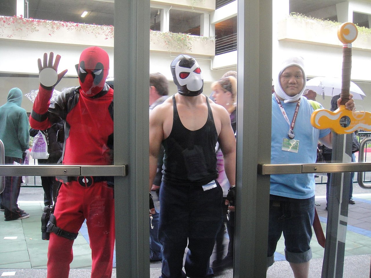 file:wondercon 2012 - deadpool, bane, and finn from adventure time
