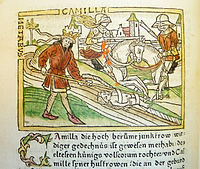 Woodcut illustration of Camilla and Metabus escaping into exile - Penn Provenance Project.jpg