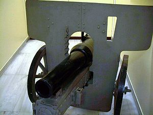 Mountain gun - P. Lykoudis's original 1891 dismantleable breechloading gun with recoil control
