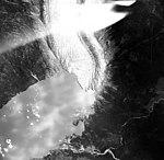 Wright Glacier, terminus of valley glacier, lateral moraines, and trimline, 1965 (GLACIERS 6333).jpg