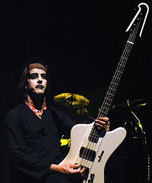 "The High End of Low - Twiggy performing with Marilyn Manson at the Hammerstein Ballroom during the ""Rape of the World Tour""."
