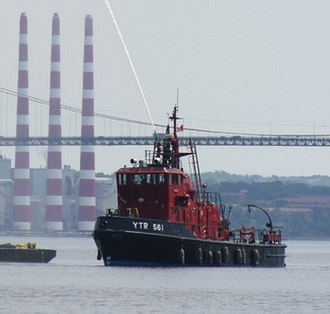 Transportation in Halifax, Nova Scotia - The CFAV Firebrand, a Royal Canadian Navy fire boat underway in Halifax Harbour.