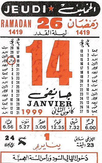 "Berber calendar - A page from a Tunisian calendar, showing the correspondence of 1 Yennayer ʿajmi (in red on bottom) with 14 January of the Gregorian calendar. The writing on the bottom signals that it is ʿajmi New Year's Day and that al-lyali al-sud (""the black nights"") are beginning."