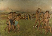 A painting of semi-nude youth playing and stretching in a field