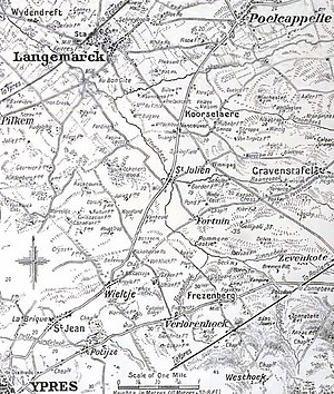 Second Battle of Ypres - Image: Ypres and Langemarck areas