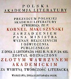 Dyplom przyznania dnia 5 listopada 1935 roku Złotego Wawrzynu Akademickiego Polskiej Akademii Literatury Kornelowi Makuszyńskiemu.