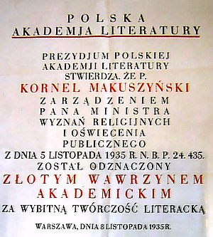 Polish Academy of Literature - Diploma of the Polish Academy of Literature Golden laurel awarded to Kornel Makuszyński in 1935