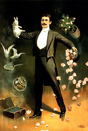 Hat-trick (magic trick) - This 1899 advertising poster for a magician prominently features the hat-trick.