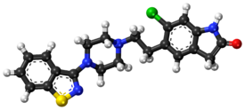 Ziprasidone ball-and-stick model.png