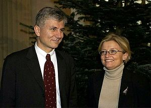 Anna Lindh - With Serbian prime minister Zoran Đinđić in Stockholm. Lindh was due to meet Đinđić in Belgrade in March 2003, moments before his assassination. Six months later, she was stabbed to death by a Serbian assassin.