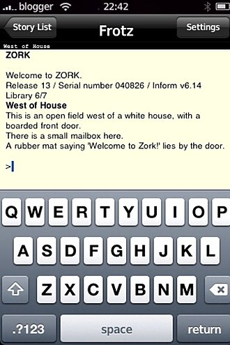 Z-machine - An implementation of Frotz running on an iPhone, playing Zork I.